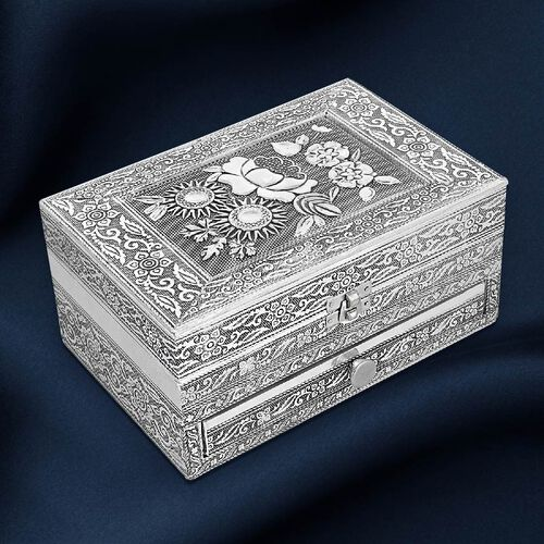 3D Embossed Collection Handcrafted Flower Design Oxidised Jewellery Box with Drawer Chest (Size 22.8x15.2cm)