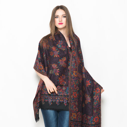 100% Merino Wool Multi Colour Flowers Embroidered Black Colour Scarf (Size 200x70 Cm) Weight 280 Gram