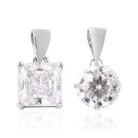 Set of 2 - ELANZA AAAA Special Radiant Cut Simulated Diamond Pendant in Rhodium Overlay Sterling Sil