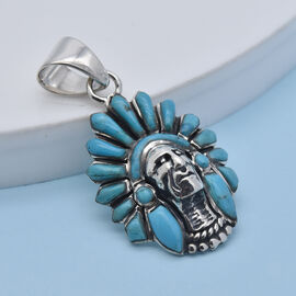 Santa Fe Collection - Turquoise Pendant in Rhodium Overlay Sterling Silver 2.00 Ct, Silver wt. 6.00 Gms