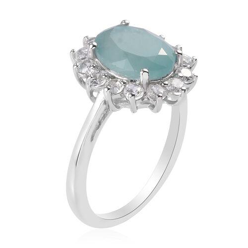 Grandidierite(Ovl10x8), Natural Cambodian Zircon Halo Ring in Platinum Overlay Sterling Silver 3.75 Ct.