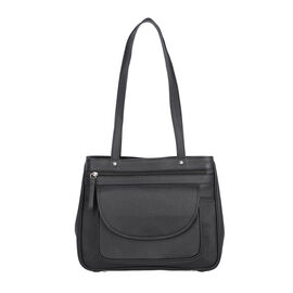 Super Soft 100% Genuine Nappa Leather Multi-Compartment Shoulder Bag in Black (29x7.5x23cm)