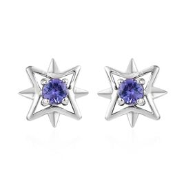 Tanzanite (0.50 Ct) Platinum Overlay Sterling Silver Earring  0.500  Ct.
