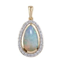 9K Yellow Gold AAA Ethiopian Welo Opal (Pear 2.63 Ct), Natural Cambodian Zircon Pendant 3.500 Ct.
