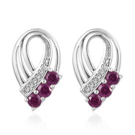 Rhodolite Garnet (Rnd) Earrings (with Push Back) in Platinum Overlay Sterling Silver 1.00 Ct.