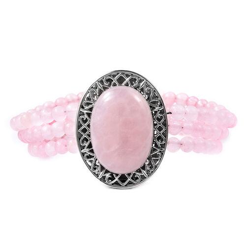 Rose Quartz Beaded Bracelet with Magnetic Clip in Stainless Steel 7.5 Inch
