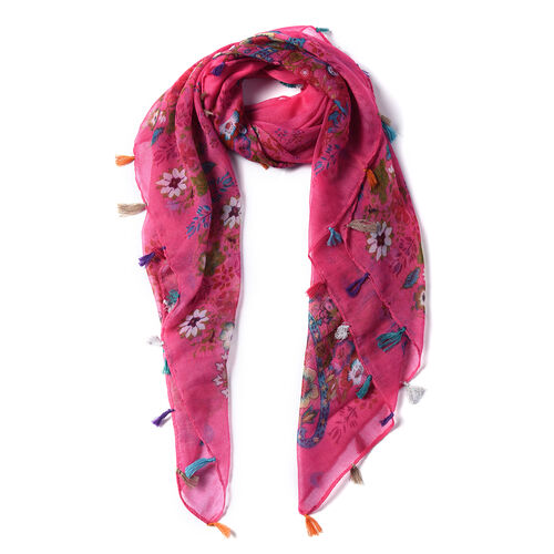 Floral Pattern 100% Viscose Pink Scarf with Tassels on Border (100x95cm)