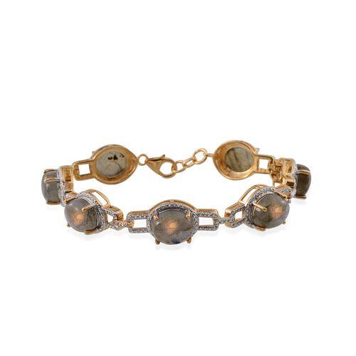 Labradorite (Ovl) Bracelet (Size 7.5) in 14K Gold Overlay Sterling Silver 33.000 Ct.