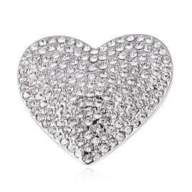 White Austrain Crystal Heart Magnetic Brooch in Silver Plated