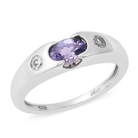 0.94 Ct Tanzanite and Zircon Channel Set Ring in Rhodium Plated Sterling Silver