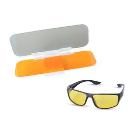 HD Day & Night Visor and HD Ultra UV Protection Sunglassess Colour Yellow and Black Frame