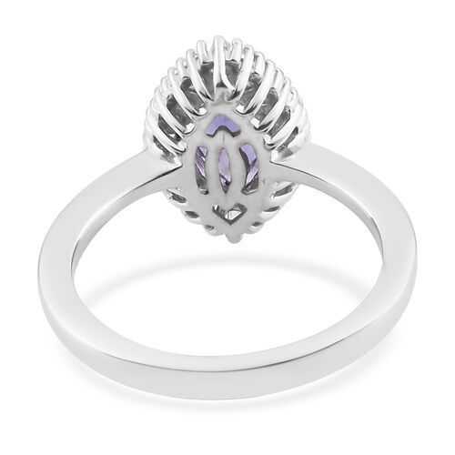 Premium AAA Tanzanite and Diamond Ring in Platinum Overlay Sterling Silver 1.00 Ct.