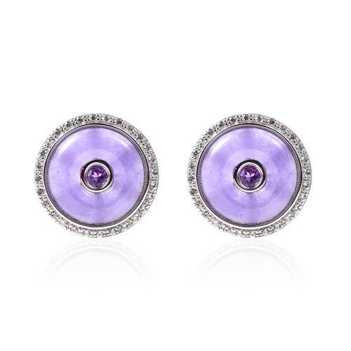 14.30 Ct Jade and Multi Gemstone Stud Earrings in Rhodium Plated Silver 6.18 Grams