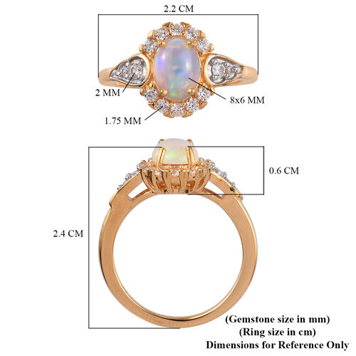 GP Ethiopian Welo Opal, Natural Cambodian Zircon and Blue Sapphire Ring in 14K Gold Overlay Sterling Silver 1.25 Ct.