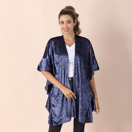 Velvet Kimono with Falbala Sleeve - Violet