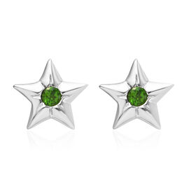 Russian Diopside (Rnd) Star Stud Earrings (with Push Back) in Platinum Overlay Sterling Silver