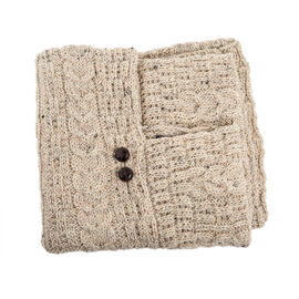 Aran 100% New Woollen Mills Irish Poncho in Nude Colour - One Size (8-18)