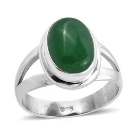 Royal Bali 7.27 Ct Green Jade Solitaire Ring in Sterling Silver 5 Grams