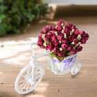 Nostalgic Bicycle Artificial Flower Decor Plant Stand (Size: 26x13x18 Cm) - White and Wine Red