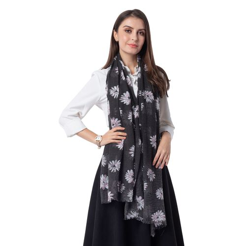 Black Colour Scarf with Chrysanthemum White Flower Pattern ( Size 180x90 Cm)