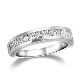 RHAPSODY 950 Platinum IGI Certified Diamond (Bgt and Sqr) (VS/E-F) Half Eternity Band Ring 1.00 Ct,