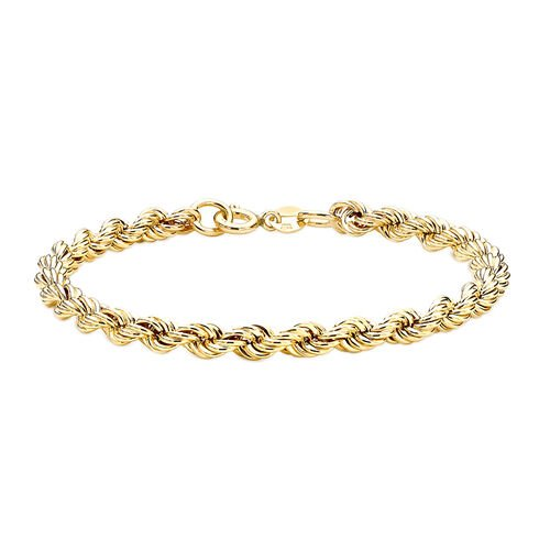 Hatton Garden Close Out Deal 9K Yellow Gold Rope Bracelet (Size 7.5)