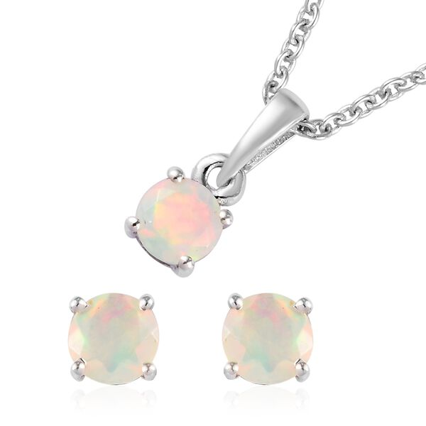 2 Piece Set - Ethiopian Welo Opal Pendant with Chain (Size 18) and Stud Earrings (with Push Back) in