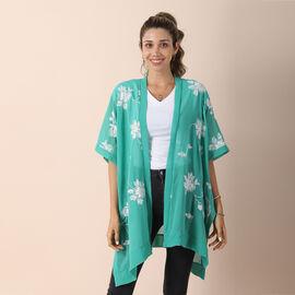 JOVIE Chiffon Floral Embroidery kimono - Green & White