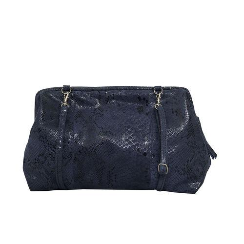 ASSOTS LONDON Genuine Leather Snake Print Oversized Clutch Bag with Adjustable Shoulder Strap (Size 29x21x3cm) - Navy