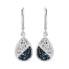 Blue and White Diamond (Bgt) Lever Back Drop Earrings in Platinum Overlay with Blue Plating Sterling