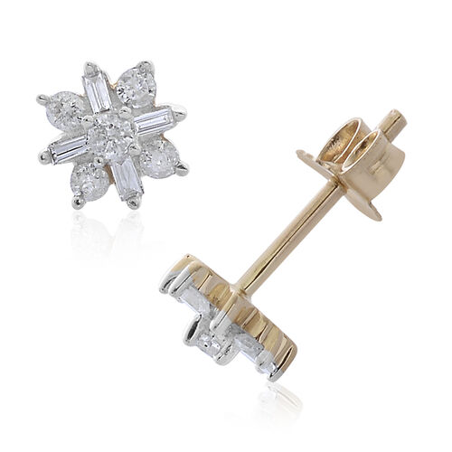 0.25 Carat Diamond Floral Stud Earrings in 9K Gold Grams With Push Back SGL Certified I3 GH