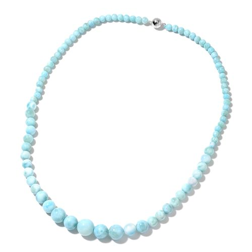 Limited Available - Rare Size Larimar Beads Necklace (Size 20) with Magnetic Clasp in Rhodium Plated