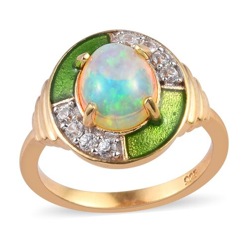 AA Ethiopian Welo Opal and Natural Cambodian Zircon Enamelled Ring in 14K Gold Overlay Sterling Silv