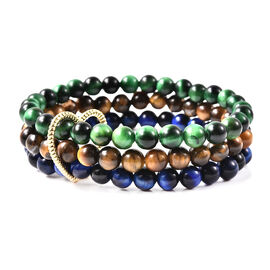 4 Piece Set - Yellow, Green and Blue Tigers Eye and Simulated Diamond Bracelets (3 Pcs) and Pendant