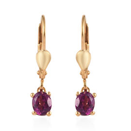 Purple Garnet (Ovl) Lever Back Earrings in 14K Gold Overlay Sterling Silver 0.90 Ct.