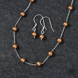 J Francis 2 Piece Set Crystal from Swarovski Bright Gold Pearl Crystal Necklace (Size 18) and Hook Earrings in Sterling Silver