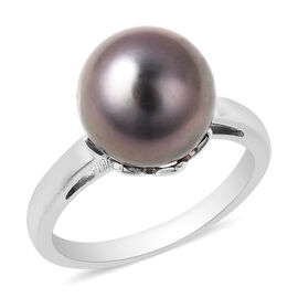 Gallatea Pearl- Tahitian Pearl Sterling Silver Ring (Size 9) TGW 8.000 ctw  8.000  Ct.