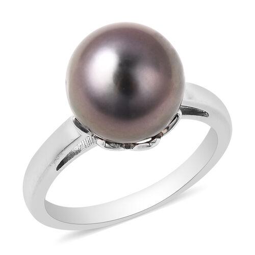 Gallatea Pearl- Tahitian Pearl Sterling Silver Ring (Size 9) TGW 8.000 ctw  8.000  Ct.