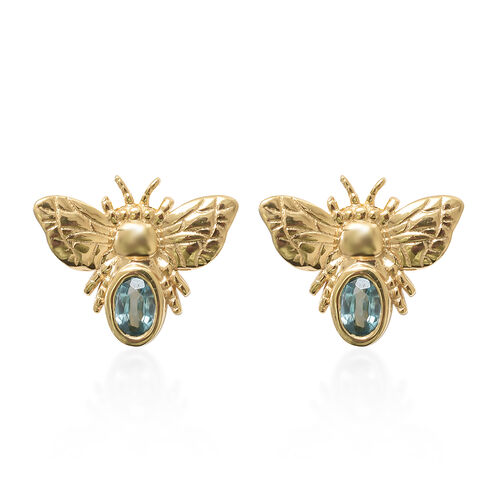 Blue Zircon (Ovl) Honey Bee Earrings with Push Back in 14K Gold Overlay Sterling Silver 1.250 Ct.
