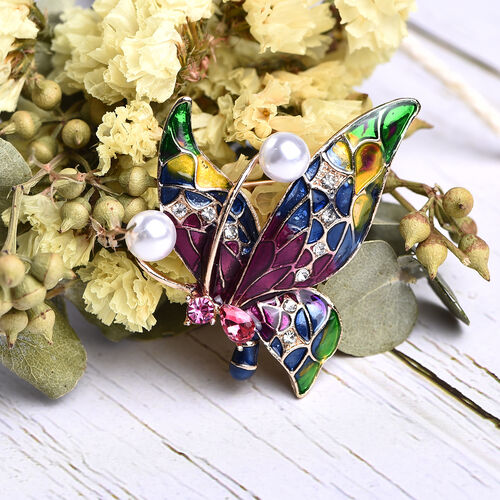 Simulated Pink Sapphire, Simulated Pearl, Fuchsia and White Austrian Crystal Butterfly Brooch in Gold Tone