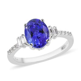 RHAPSODY 2.08 Ct AAAA Tanzanite and Diamond Classic Ring in 950 Platinum 4.59 Grams