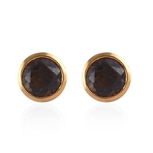 Brazilian Smoky Quartz (Rnd) Stud Earrings (with Push Back) in 14K Gold Overlay Sterling Silver 1.50