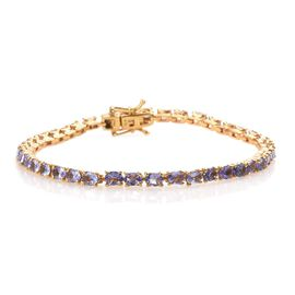 7 Carat Tanzanite Tennis Bracelet in 14K Gold Plated Sterling Silver 8 Grams 7 Inch