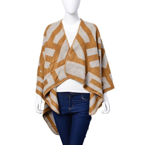 Camel and Cream Colour Stripe Pattern Reversible Poncho (Size 130x60 Cm)