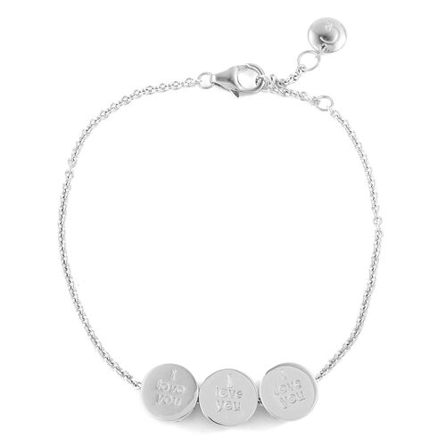 RACHEL GALLEY Rhodium Plated Sterling Silver - I Love You - Lattice Moving Charm Bracelet (Size 7.5) with 1 inch extender, Silver wt 6.42 Gms.