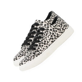 Leopard Pattern Lace-Up Trainers in White