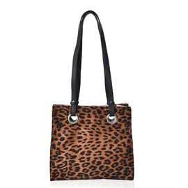 Leopard Pattern Velvet Tote Bag with Magnetic Closure (Size 29x28x12 Cm) - Brown
