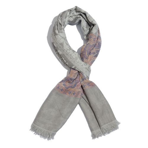 Grey, Pink and Multi Colour Floral Pattern Scarf (Size 180x70 Cm)