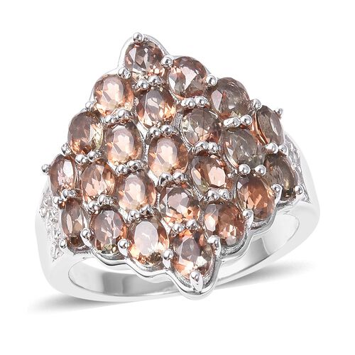 5.13 Ct Andalusite and Cambodian Zircon Ring in Rhodium Plated Sterling Silver