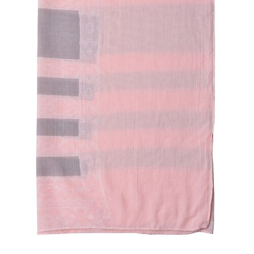 Close Out Deal Pink and Grey Colour Stripes Pattern Pareo (Size 200X140 Cm)